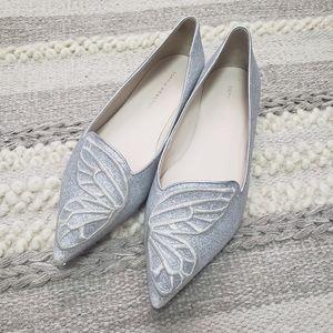 SOPHIA WEBSTER Silver Glitter Bibi Flats